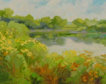 "Plein Air Painting ""Acadia, Southwest Harbor"" Landscape Painting, Maine"