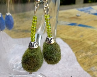 Green needle felt and glass bead earrings