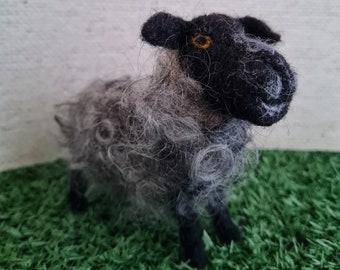 Felted Gotland sheep, grey sheep, curly sheep, farm animal, british wool. fibre art