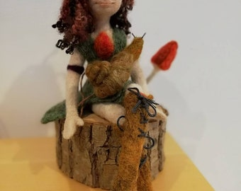 Chestnut, needle felted art doll with her pet snail, elfin/pixie doll, unique shelf decor, collectible doll,. OOAK sculpture.