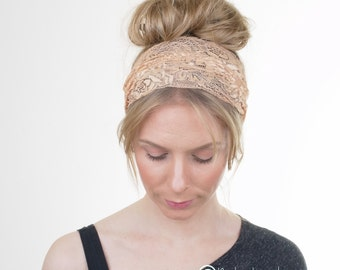 Gold Lace Headband, Wide Lace Headband Hairband, Rustic Wedding, Elastic Headband, Womens Headband