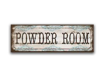 Powder room handmade wooden sign powder room decor powder room plaques h restroom signs restroom decor restroom plaques