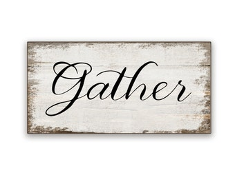 """Small Gather wooden box sign 10""""x5""""x2"""" Gather art Gather sign Thanksgiving sign Fall signs Fall decor Autumn sign Gather wooden sign"""