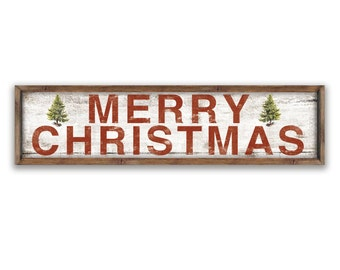 "Farmhouse Christmas sign  44""x12""x2"" Christmas plaques Merry Christmas signs Christmas decor Holiday signs Holiday decor Cottage Christmas"