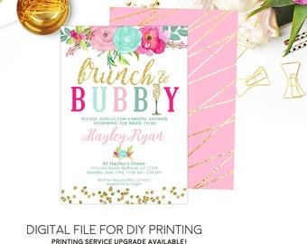 Brunch & Bubbly Bridal Shower Watercolor Flowers and gold glitter ***Digital File*** (bridal-BrunchBoho)
