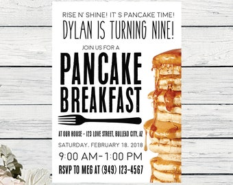 Pancake Breakfast Birthday invitation or any event ***Digital File*** (pancake-bday)