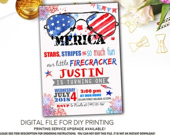 Merica Red White And Blue ANY Age Birthday 4th Of July Firecracker Personalized Invitation Digital File RWB