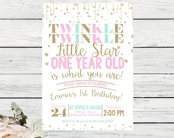 Twinkle Twinkle Little Star First Birthday Invite Pink, Mint and Gold Glitter ***Digital File*** (Twnkle-StarOne MintPink)