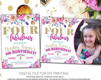 4th birthday invite etsy