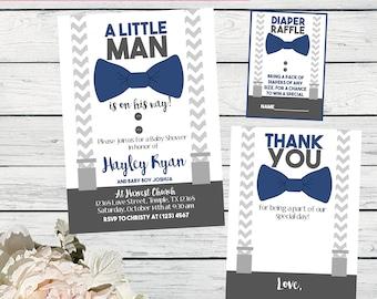 Little Man Baby Shower Invite-White, Navy Blue & Grey ***Digital File*** (Baby-bowtieNAVY)