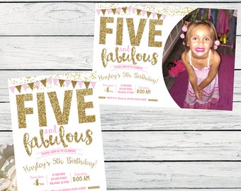 Five & Fabulous 5th Birthday invitation - Girls Pink and Gold glitter ***Digital File*** (Five-Fabbunting2017pic)