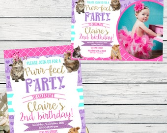 Kitten Princess Personalized birthday invitation-  ***Digital File*** (Kitten-2017)