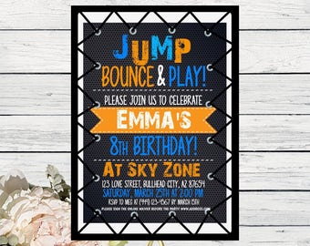 Trampoline Party Personalized Birthday Invitation Any Colors Digital File TRAMP SKYZN