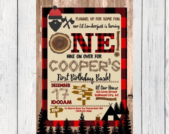 Lumberjack First Birthday or Any Age: Personalized birthday invitation- ***Digital File*** (One-LumberJack)