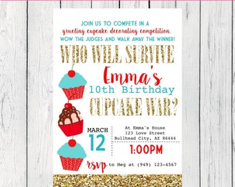 Cupcake War Personalized birthday invitation- Gold Glitter  ***Digital File*** (Cupcake-WarRED)