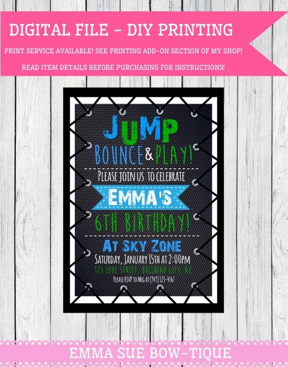 Trampoline Party Personalized Birthday Invitation Digital File Tramp Boy13