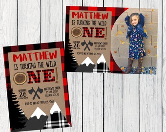Lumberjack Wild ONE Or Any Age Personalized birthday  invitation- ***Digital File*** (Lumber-B&WPic)