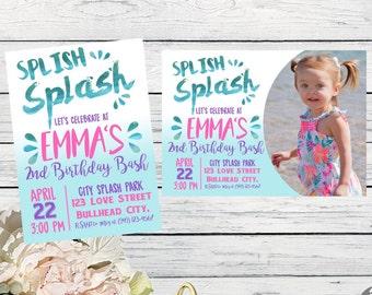 Splash Park Party: Personalized birthday invitation- ***Digital File*** (Splish-17pnk)