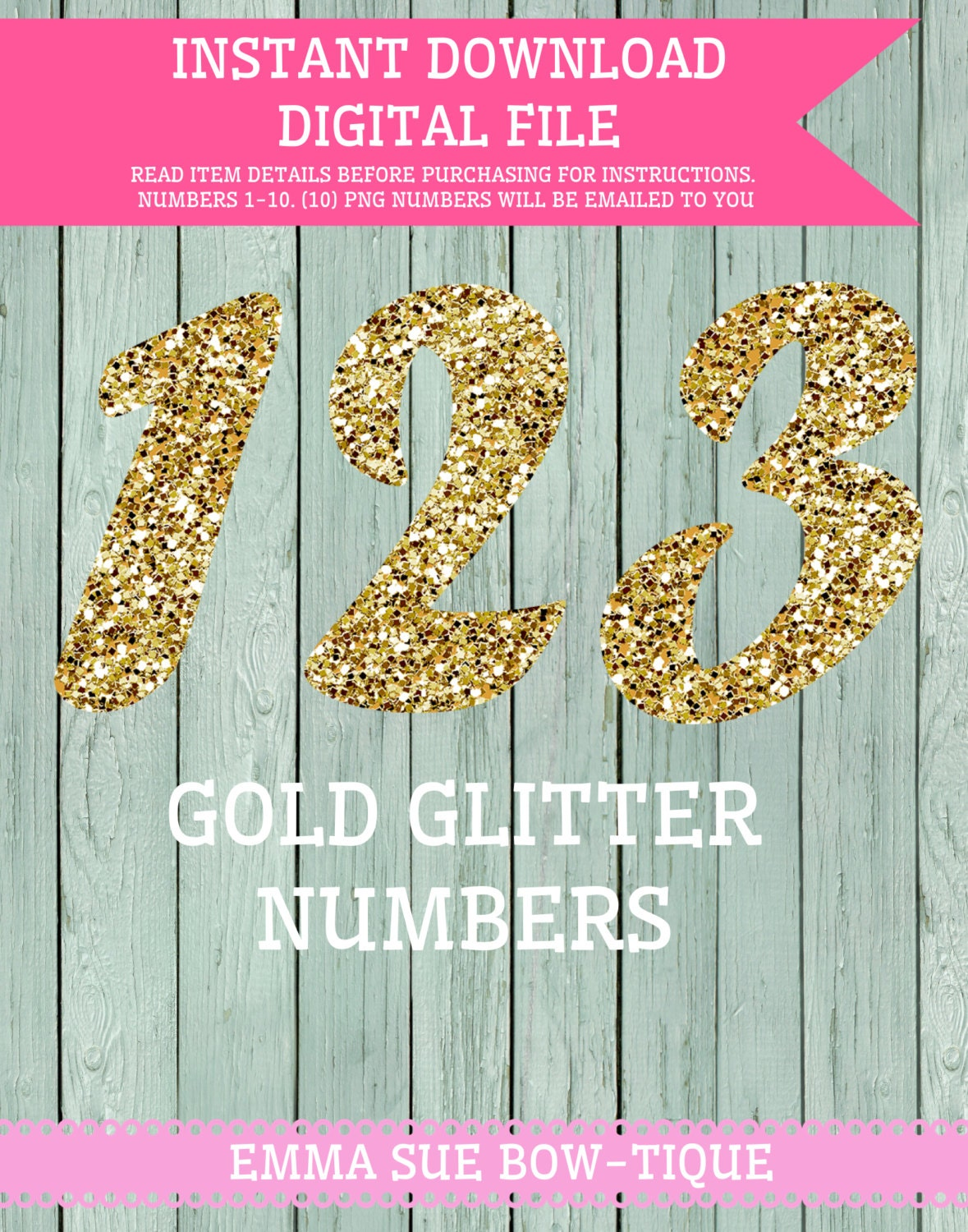Gold Glitter Numbers 0-10 Clipart Transparent background | Etsy