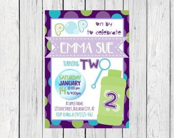 Bubble Birthday Party Personalized Birthday invitation ***Digital File***  (Bubbles-Purple)