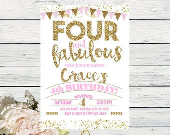 Four & Fabulous 4th Birthday invitation - Pink and Gold glitter ***Digital File*** (Four-bunting2017)