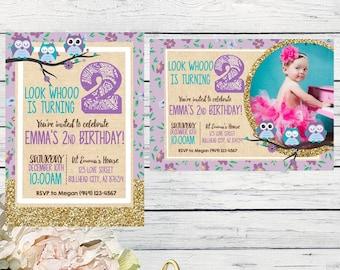 Owl birthday invitation- Shabby Chic & Gold Glitter ***Digital File*** (Owl-burlap)
