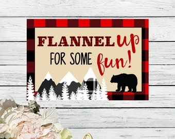 Flannel Up For Some Fun Sign - 16x20, 11x14 or 8x10*****INSTANT DOWNLOAD****(One-LumberSign)