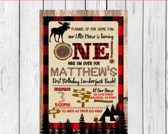 Lumberjack Moose First Birthday or Any Age: Personalized birthday invitation- ***Digital File*** (One-Moose)
