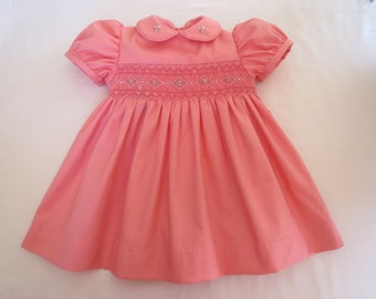 ca364f4638bf Adorable Coral Pink Hand Smocked Dress for Baby Girl. Size 12 Months. 1T.  Ready to Ship.