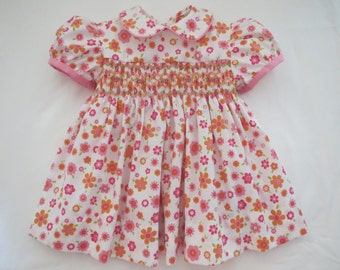 00b3261283f9 Adorable Pink, White, Orange and Green Multi Colored Floral Hand Smocked  Dress for Baby Girl. Size 0-3 months.