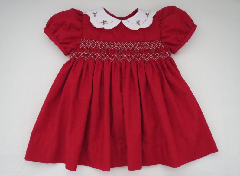400d079b4936 Adorable Red and White Christmas Dress for Baby Girl. Hand | Etsy