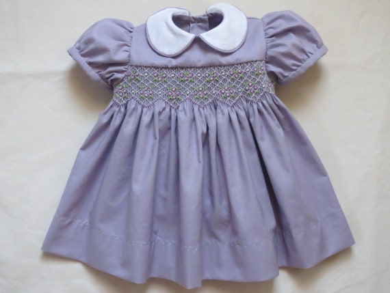 989e3c4a4a Lilac Lavender and White Hand Smocked Classic Dress for Baby