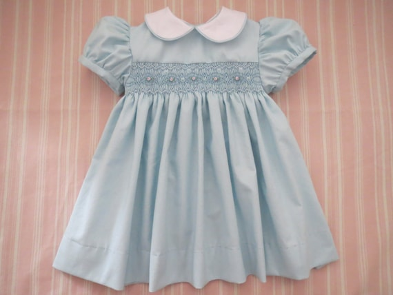 99de2540d906f Beautiful Baby Blue White and Pink Hand Smocked Dress for | Etsy