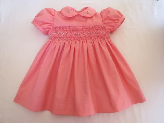 Adorable Coral Pink Hand Smocked Dress for Baby Girl. Size 12 Months. 1T. Ready to Ship.