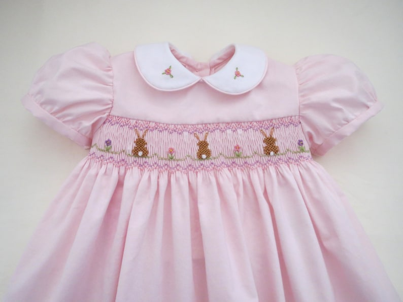 acb8bb53e Adorable Hand Smocked Soft Pink Easter Bunny Dress for Baby | Etsy