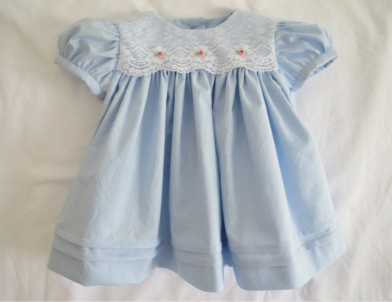 d264b30e30f1b Darling Baby Blue White and Pink Lacy Embroidered dress for