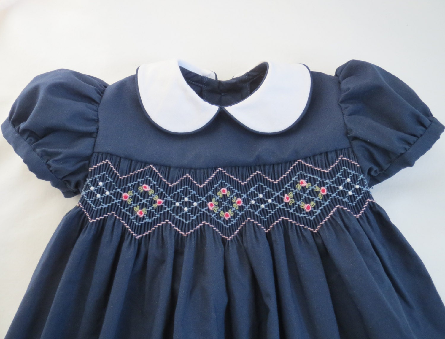 e48004dd6f2cb Navy Blue and Pink Hand Smocked Dress for Baby. Toddler Girl. | Etsy