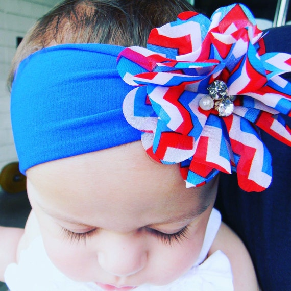 Red White Blue Star Print Newborn Headband Baby Girl Hair Fourth Of July Bow