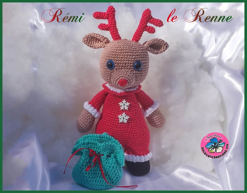 Remi the reindeer crochet blanket handmade image 1