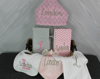 Baby gift basket- Custom for boy or girl monogrammed hooded towel, burp cloths, bib and onesie. Perfect baby shower gift!