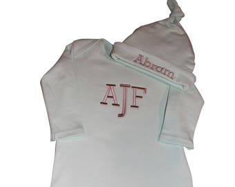 Monogrammed infant gown girls boys optional hat