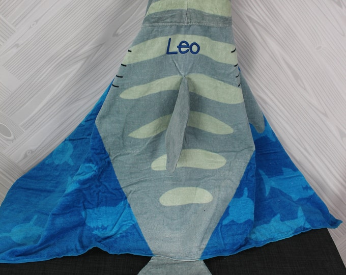 Shark Hooded Beach Towel toddler kids FREE personalization