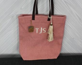 Monogrammed Pink Jute Tote Bag with tassel