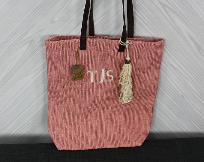 Monogrammed Pink Jute Tote Bag with tassel