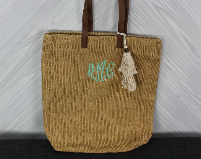 Monogrammed Tan Straw Jute Tote Bag with tassel