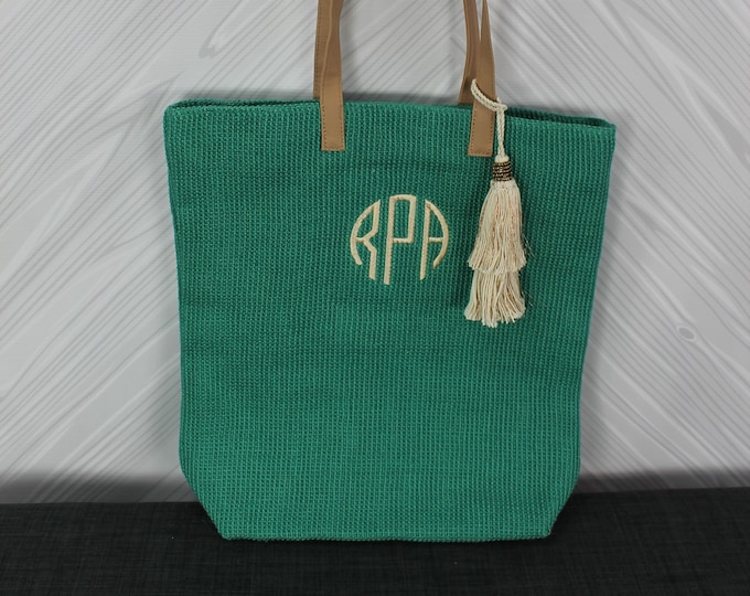 Monogrammed Teal Straw Jute Tote Bag with tassel