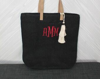 Monogrammed Black Straw Jute Tote Bag with tassel