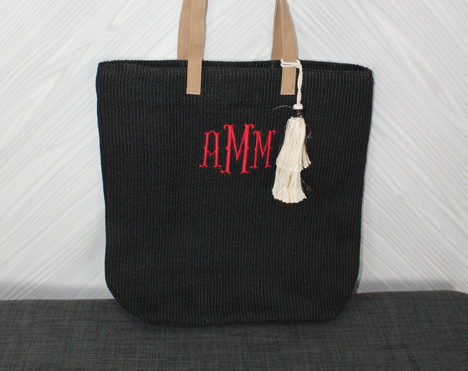 Monogrammed Black Straw Jute Tote Bag with tassel