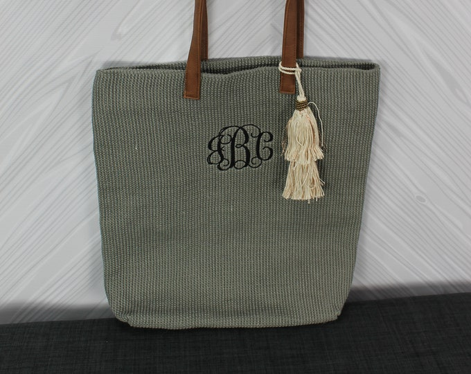 Monogrammed Gray Straw Jute Tote Bag with tassel