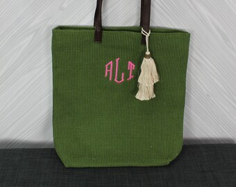 Monogrammed Olive Green Straw Jute Tote Bag with tassel